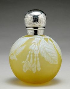 2169: English Wheel Engraved Cameo Glass Perfume Bottle : Lot 2169