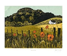 Robert Tavener. Poppies  Downs. Linocut. Note how each plane is handled differently; the foreground plane is similar in color and value to the middle ground but it is richer in detail. Background planes are slightly different in color; less detail. The distant plane is darkest contrary to the rules of aerial perspective.