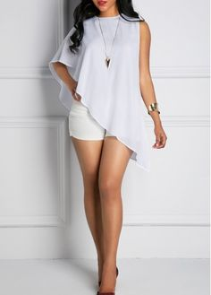 Asymmetric Hem Round Neck One Shoulder White Blouse, more than 3000 goods at rosewe.com, faster shipping and high quality, shop now.