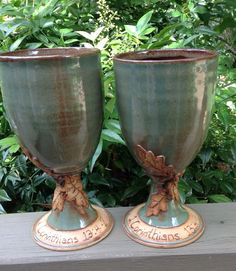 Set of two pottery chalices 1 Corinthians by littlebearclayworks click the image or link for more info. Pottery Mugs, Ceramic Pottery, Pottery Ideas, Communion Sets, Wine Chillers, Pottery Techniques, Colorful Plants, Pottery Sculpture, Wine Goblets