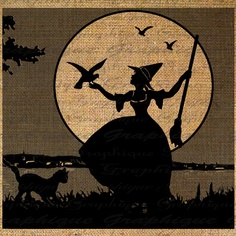 Burlap Digital Download Marie Antoinette Witch Moon Halloween Silhouette Iron On…