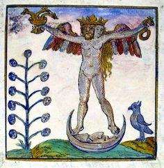 Mastery of the Lunar element -  the hermaphrodite upon the crescent moon, with moon tree and bird #Alchemy, #occult