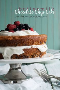 Buttermilk Chocolate Chip Cake from JensFavoriteCookies.com - perfect topped with whipped cream and fresh berries!