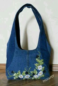 Embroidered denim purse. I'd rather have this in a cross body style but same embellishment.