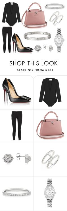 """""""Drinks"""" by laura2703 ❤ liked on Polyvore featuring Christian Louboutin, Solace, Current/Elliott, Forzieri, Bony Levy, Ileana Makri, Rolex and Cartier"""