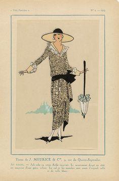 Anonymous | Très Parisien, 1923, No. 2:  Tissus de J. MEURICE & CIE...Au soliel, Anonymous, J. Meurice & Cie, G-P. Joumard, 1923 | Stoffen van J. Meurice & Cie. Jurk van bedrukte 'crêpe Saïda'. De kraag en manchetten zijn versierd met 'organdi sable' en witte tule. Accessoires: hoed met brede rand, parasol. Prent uit het modetijdschrift Très Parisien (1920-1936).