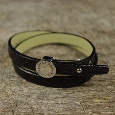 Bracelet Galuchat Noir Double Tour MONBARTH