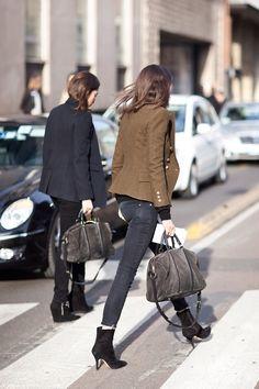 denim & blazers. #TeamVogueParis uniformed & on the move in  Paris. #EmmanuelleAlt  #CapucineSafyurtlu