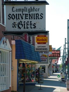 Shops on Portage Ave. across from the Soo Locks in Sault Ste. Marie, MI. Great shopping on this street.