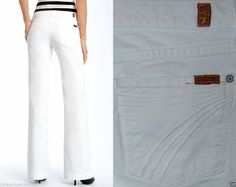 AUTHENTIC Women's Designer Denim Seven's 7 For All Mankind Jeans Dojo Flare Palm Springs WHITE Signature Logo Embroidered Thick Stitch Back Pockets 29 SLIM *NICE* #7ForAllMankind #Flare