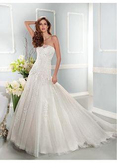 035af079d7ed Price tracker and history of 2017 Popular A-Line Lace Wedding Dresses  Strapless Backless Applique Floor-Length Chapel Train Bridal Gowns Vestido  de Novia