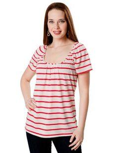 Motherhood Maternity: Short Sleeve Pull Over Double Opening Stretch Fabric Nursing Top Motherhood Maternity. $16.99