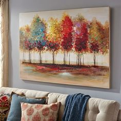 if you love looking at leaves during fall then allow me to introduce you to one of the best pieces of tree wall art around. Perfect for fall wall decor as this canvas print is full of bold fall colors. Tree Wall Art, Tree Art, Abstract Landscape, Landscape Paintings, Abstract Canvas, Canvas Art, Online Painting, Painting Techniques, Painting Inspiration