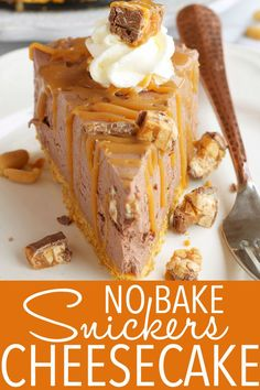 This Snickers Cheesecake recipe is no-bake, SO easy to make, deliciously sweet, and it features everybody's favourite chocolate bar: Snickers Recipe from thebusybaker.ca! #nobake #cheesecake #homemade #summer #treat #kidfriendly #snickers #dessert via @busybakerblog