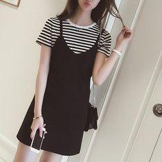 Oaksa - Set : Stripe Short-Sleeve Top + Strappy Dress