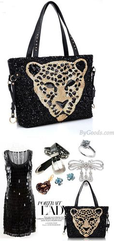 Vintage Sequined Leopard Head Handbag&Shoulder Bag for big sale! #handbag #shoulder #sequin #leopard #bag