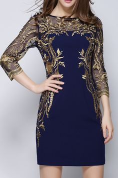 Navy Blue Embroidered Sheer Sleeves Dress