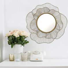 Love love love this geo-floral mirror. Stratton Home Decor Stella Abstract Geometric Floral Wall Mirror Wall Mirrors Entryway, Rustic Wall Mirrors, Living Room Mirrors, Mirror Bedroom, Mirror With Shelf, Round Wall Mirror, Mirror Art, Mirror Collage, Mirror Vanity