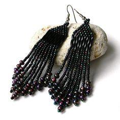 Black Beaded Earrings beadwork jewelry black seed by Anabel27shop