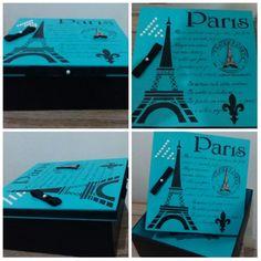 Caixa decorada Paris Preto e Turquesa