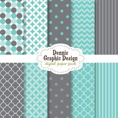BUY 2 GET 2 FREE - Digital Scrapbook Paper Clip Art- 12x12 papers - cyan and grey pack -- $5.00