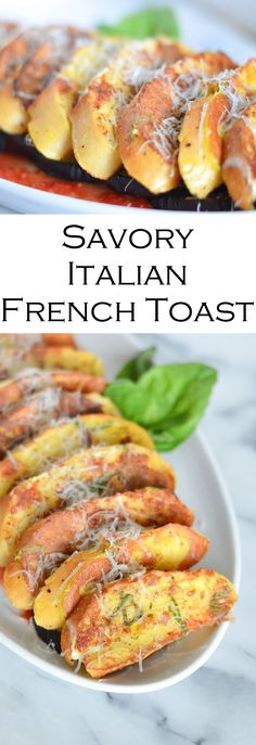Delicious savory Italian French Toast. This breakfast is impossibly simple with few ingredients. Switch up the normal brunch with butter and syrup with these delicious bread recipe. Add roasted veggies + marinara sauce for a healthy brunch dish.