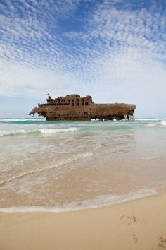 Wreck of the Cabo Santa Maria, on the coast of Boa Vista, Cape Verde.