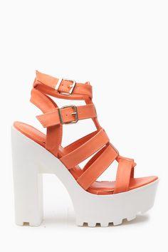 eb56d7f03351 Peach Faux Leather Multi Strap Lug Sole Heels   Cicihot Heel Shoes online  store sales Stiletto Heel Shoes