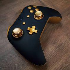 Controle Xbox One Preto Fosco Dourado Ouro