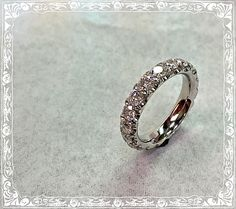 Handmade All-round Diamonds Platinum Wedding Band Ring by MatorStudio on Etsy