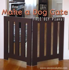 Looking for homemade pet gate ideas that look store bought and that your doggies will love? Check out this indoor DIY plan for a folding free standing dog gate. It's decorative enough to leave out and neatly folds when not in use. Diy Dog Fence, Diy Dog Gate, Pet Gate, Puppy Gates, Doggie Gates, Indoor Dog Gates, Cheap Dog Kennels, Diy Pet, Dog Barrier