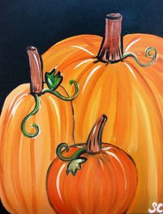 paintings of 3 pumpkins on canvas - Google Search