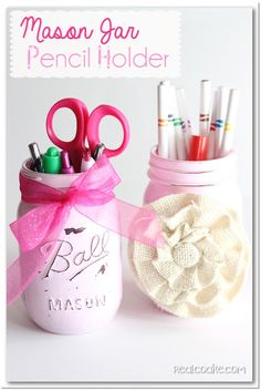Cute and simple Mason jar craft to make a pencil holder from realcoake.com