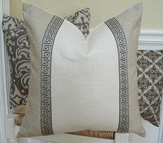 Greek key pillow cover.  Greek key trimmed natural linen pillow cover…