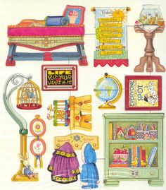 Mary Engelbreit Magnetic Dollhouse from gold country girls: Paper Furniture, Doll Furniture, Dollhouse Furniture, Paper Doll House, Paper Houses, Paper Art, Paper Crafts, Dollhouse Accessories, Vintage Paper Dolls