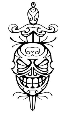 Teschio messicano con pugnale - Tatoo (Mexican skull with dagger - Tatoo)