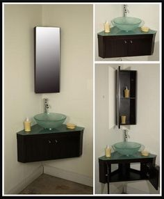 Corner Sinks For Small Bathrooms perfect for powder room: traditional powder room with hardwood