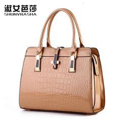 SNBS 100% Genuine leather Women handbags 2016 New High-grade crocodile pattern shoulder portable handbag Europe style package