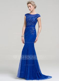 [US$ 134.19] Trumpet/Mermaid Scoop Neck Sweep Train Tulle Lace Evening Dress With Beading (017093499)
