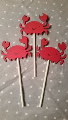 Check out this item in my Etsy shop https://www.etsy.com/listing/219388604/12-crab-cupcake-toppers