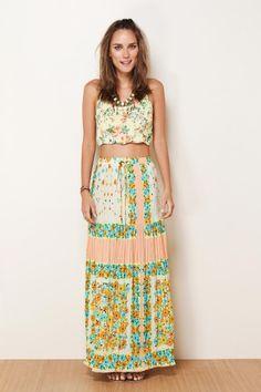 long floral pleated skirt @Brenda Canfield Rio