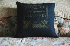 The Design: Art Deco inspired Doctor Who throw pillow. Cover is charcoal with a hidden zipper. Gold ink. The Pillow | Process | Care: This pillow case is made out of 100% Ramie and hand screenprinted