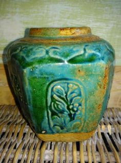Oude Antieke Chinese Gemberpot Turquoise G50