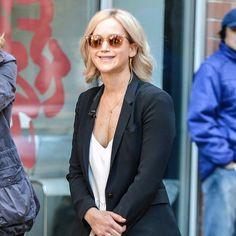 Jennifer Lawrence Sports a Big Smile While Filming in NYC