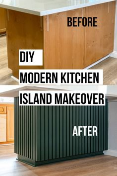 How to trim a kitchen island for a modern look. Easy DIY Wood slat kitchen island makeover.