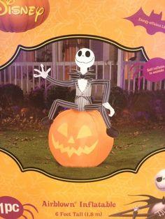 DISNEY JACK SKELLINGTON ON PUMPKIN Gemmy Halloween Airblown Inflatable Yard Prop