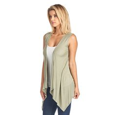 41b0ffbeb2c Sharon s Outlet Women s Short Solid Sleeveless Cardigan