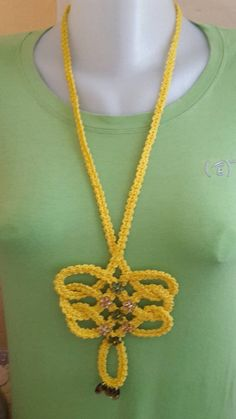 ElinorHandmade / Dlhý žltý Crochet Necklace, Jewelry, Fashion, Jewlery, Moda, Crochet Collar, Jewels, La Mode, Jewerly