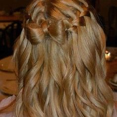 waterfall braid with a bow tie