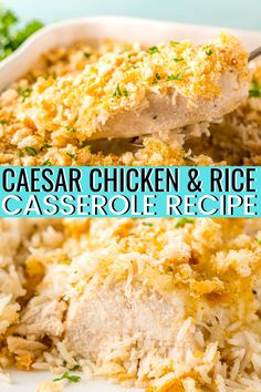 Chicken and Rice Casserole is an easy one-dish chicken dinner recipe made with just 6 ingredients and takes 5 minutes to prep! Make it with ranch or ceasar dressing for extra flavor! Ranch Dressing Recipe, Ranch Recipe, Ceasar Dressing, Easy Casserole Recipes, Rice Casserole, Minute Rice Recipes, Chicken Ceasar, Chicken Rice Recipes, Chicken Breakfast